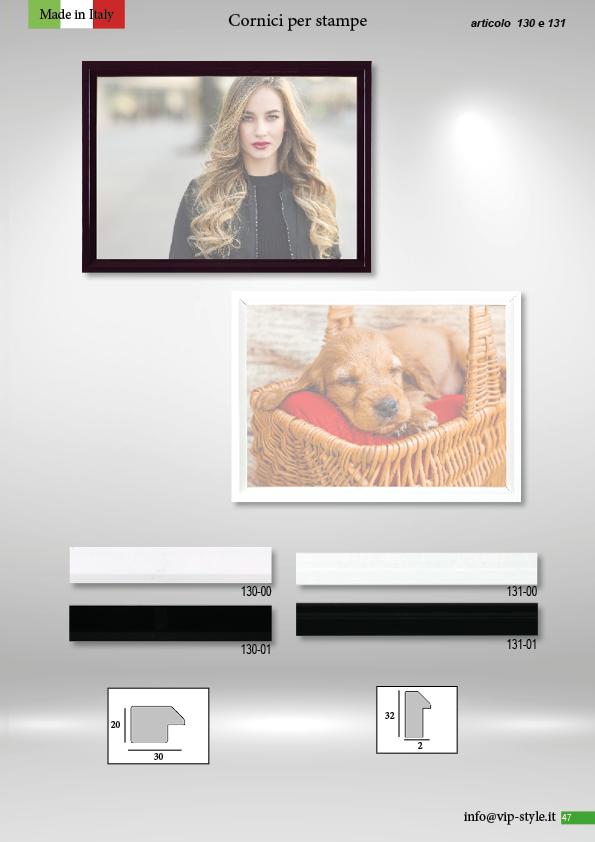 catalogo cornici Vip Style 2020 articolo 130 e 131